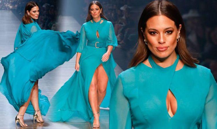 982a05c7ca Ashley Graham  Model risks a wardrobe malfunction on the catwalk in  Australia