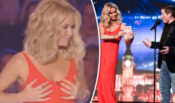 15381f196a749 Britain s Got Talent 2016  Amanda Holden has her BRA stolen as she assists  cheeky magician