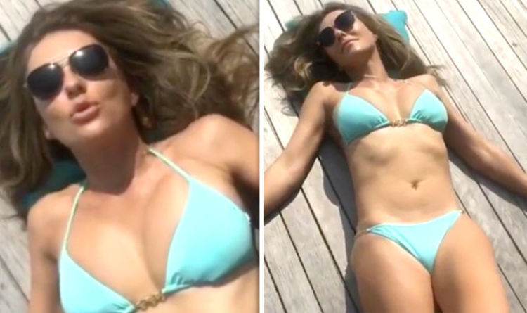 ae4ccb027b8 Liz Hurley Instagram: Actress, 53, sparks meltdown as she writhes around in  bikini video