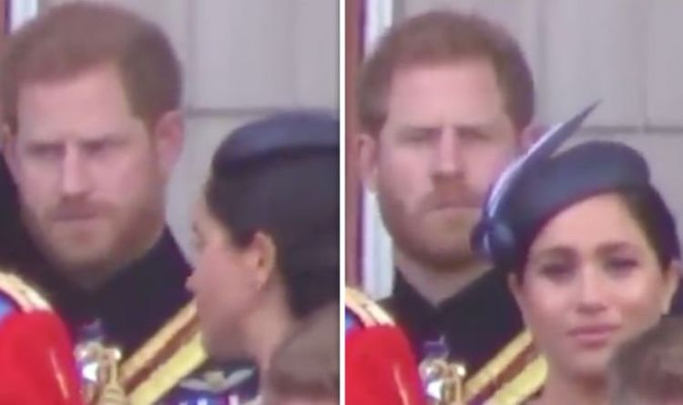 0f8749ee1c88 Lip reader reveals EXACTLY what Harry said to Meghan in Trooping the Colour  'telling off'