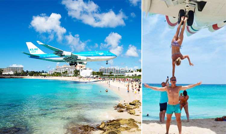 Maho Beach Tourists Slammed For Extremely Dangerous Plane Stunt At St Maarten Airport Travel News Express Co Uk