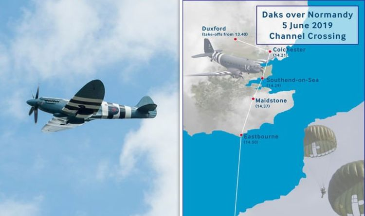 D-Day 75 Flypast route MAPPED: 34 planes to fly above UK to