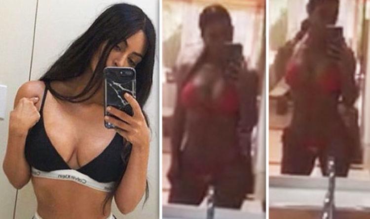 19d139c320 Kim Kardashian Instagram  Star sizzles in boob-baring bikini for racy  bathroom snap