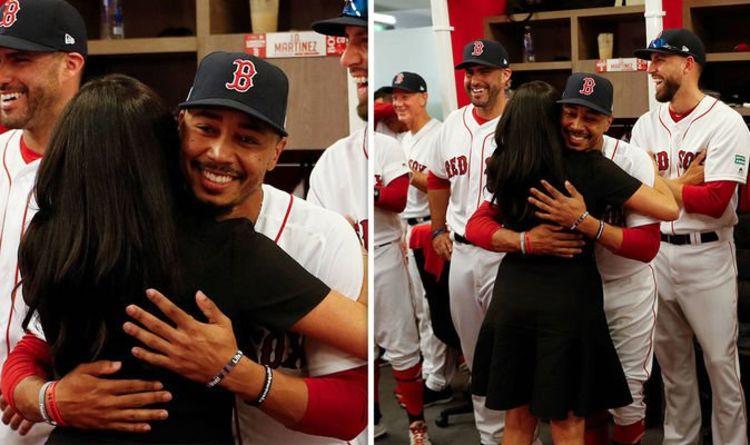 online retailer 900aa 3d4e4 Meghan Markle hugs baseball star relative at Boston Red Sox ...