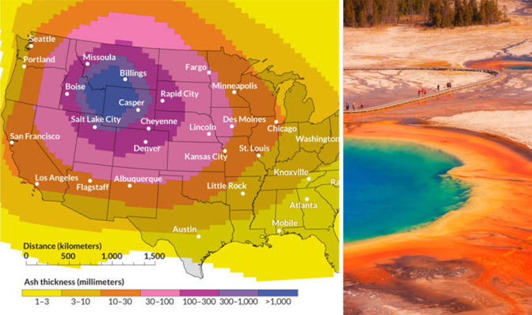 yellowstone volcano caldera map shows usa covered in ash after eruption science news expresscouk