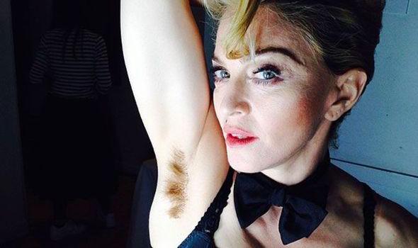 selfie Madonna armpit hair