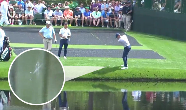 masters 2018 jordan spieth skims ball off water in best golf shot