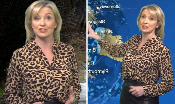 db70c196c8fdd Carol Kirkwood causes a stir in sexy leather skirt and leopard print ...