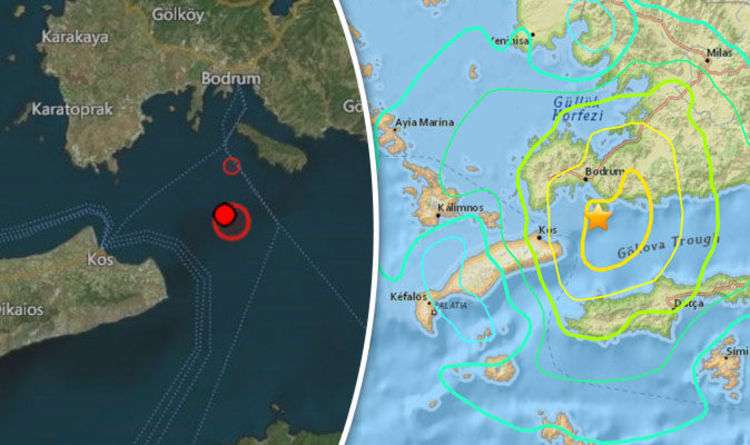 Turkey and Greece map: Earthquake mapped - Kos, Bodrum, Greek ...