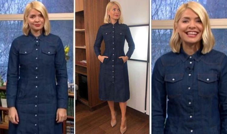 68472ded63a Holly Willoughby shows off curves in £46 Warehouse dress on ITV s This  Morning