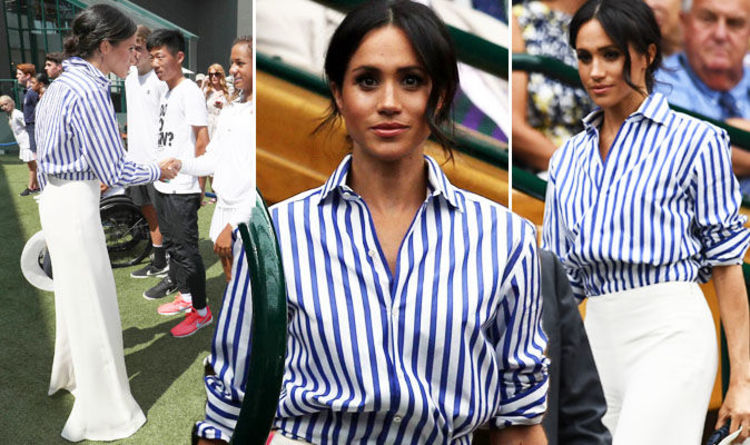 eea0441c16 Meghan Markle goes nautical in £600 striped shirt alongside Kate Middleton  at Wimbledon