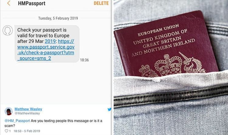 Brexit news: Passport Office texts Britons to renew document