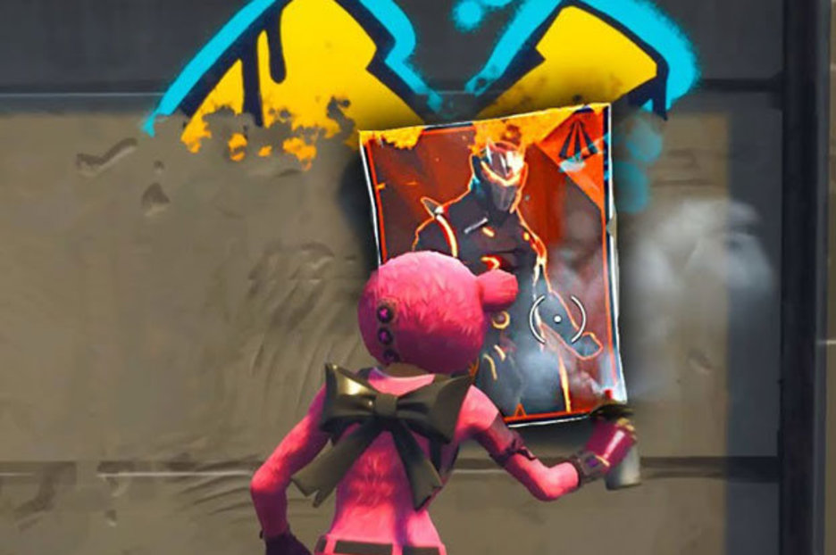 fortnite spray over different omega or carbide posters find week 6 challenge posters - fortnite poster spots