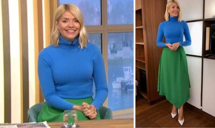 0c8e06a6d2372 Holly Willoughby wears £300 colour block outfit on This Morning - where to  buy her look. HOLLY WILLOUGHBY opts for chic ...