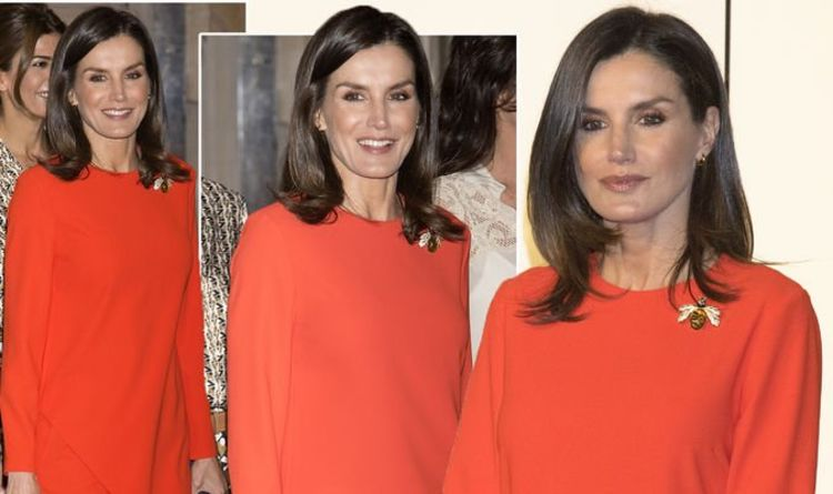188fd7f5 Queen Letizia of Spain style: Chic royal stuns in red as she wears  high-street Zara outfit