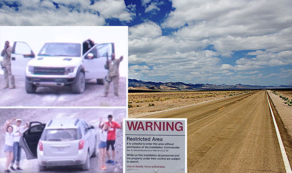 road to area 51 with insets top security with guns drawn and the couples