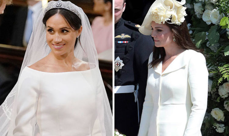 545ce72992c Kate shocks viewers with  cream  coat as bride Meghan Markle wows in white