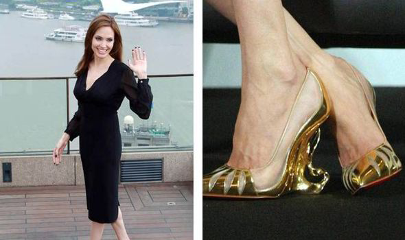 5047cae9f09 Actress Angelina Jolie created the eye-catching range with legendary  shoemaker Christian Louboutin
