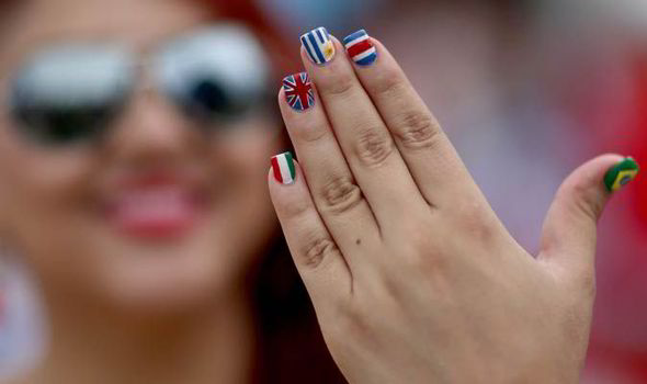 World Cup Nail Art Flags Manicure