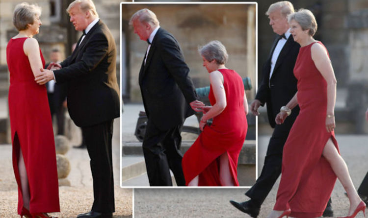 theresa may news prime minister s red dress to meet donald trump