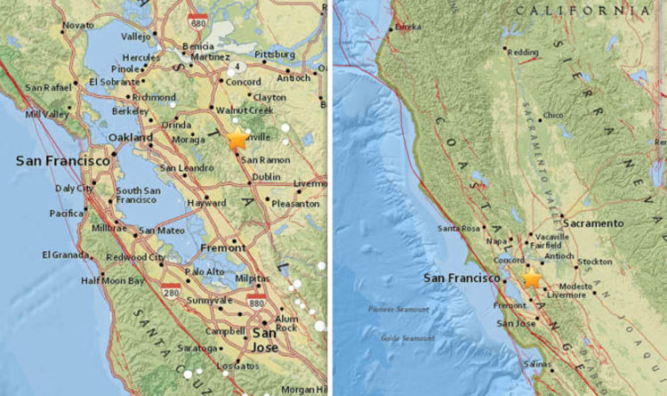 san francisco earthquake was bay area hit by earthquake just now usgs maps latest world news express co uk