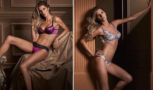 b17e60b1ec World s highest paid supermodel Gisele Bundchen models new Intimates  lingerie line