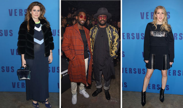 London Fashion Week Will I Am Tinie Tempoah Ellie Goulding Line Frow At Versace Show Express Co Uk