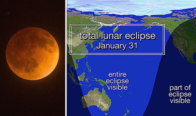 January 31 Lunar Eclipse Map.Blue Moon 2018 Map Super Blood Moon Video Shows Us Is Best Spot To