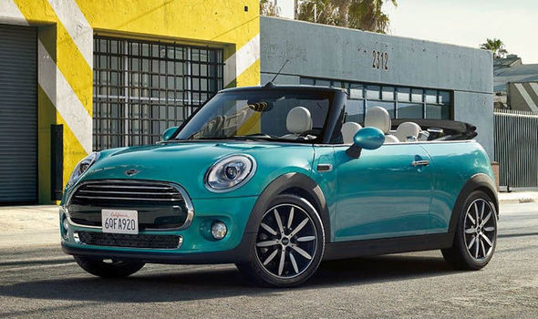 Mini Cabriolet 2016 With Roof Down On Sunny Street