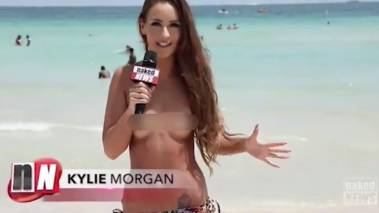 Angela Sun Topless model presents hurricane irma interview topless