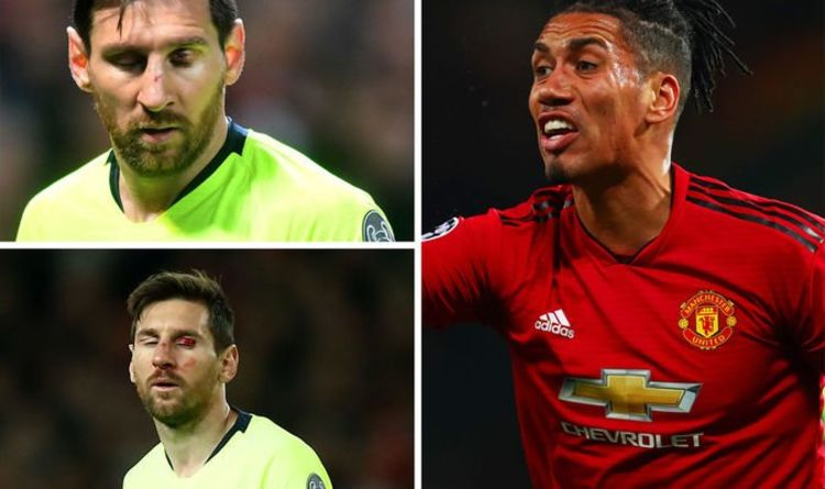 262e7f616 The five words a bleeding Lionel Messi said to Chris Smalling after Man Utd  vs Barcelona
